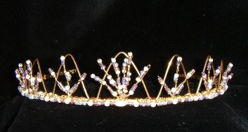 Lilac, Ivory & Gold fine crown tiara